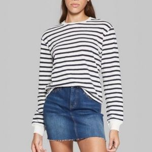 Wild Fable Striped Skater Boxy Long Sleeve Shirt